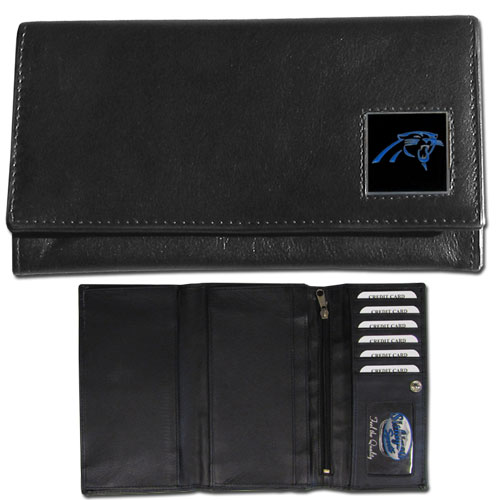 Women's NFL Leather Wallet - Carolina Panthers - This genuine leather women's pocketbook features 9 credit card slots, a windowed ID slot, spacious front pocket, inner pocket and zippered coin pocket. The front of the pocketbook has a hand painted metal square with the team's primary logo. Officially licensed NFL product Licensee: Siskiyou Buckle .com