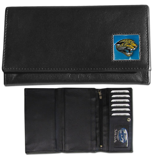 Women's NFL Leather Wallet - Jacksonville Jaguars - This genuine leather women's pocketbook features 9 credit card slots, a windowed ID slot, spacious front pocket, inner pocket and zippered coin pocket. The front of the pocketbook has a hand painted metal square with the team's primary logo. Officially licensed NFL product Licensee: Siskiyou Buckle Thank you for visiting CrazedOutSports.com
