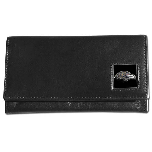 Women's NFL Leather Wallet - Baltimore Ravens - This genuine leather women's pocketbook features 9 credit card slots, a windowed ID slot, spacious front pocket, inner pocket and zippered coin pocket. The front of the pocketbook has a hand painted metal square with the team's primary logo. Officially licensed NFL product Licensee: Siskiyou Buckle .com