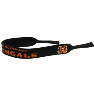 "Cincinnati Bengals Neoprene NFL Sunglass Strap - Prioritize how you accessorize by teaming our Cincinnati Bengals neoprene strap with our NFL sunglasses. Straps are adorned in team logos and colors. Sunglasses hang from the 16"" strap with flexible tube openings to fit snuggly over thin to wide styles. Officially licensed NFL product Licensee: Siskiyou Buckle Thank you for visiting CrazedOutSports.com"