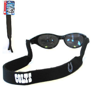"Indianapolis Colts Neoprene NFL Sunglass Strap - Prioritize how you accessorize by teaming our Indianapolis Colts neoprene strap with our NFL sunglasses. Straps are adorned in team logos and colors. Sunglasses hang from the 16"" strap with flexible tube openings to fit snuggly over thin to wide styles. Officially licensed NFL product Licensee: Siskiyou Buckle Thank you for visiting CrazedOutSports.com"