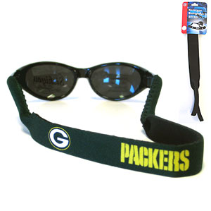 "Green Bay Packers Neoprene NFL Sunglass Strap - Prioritize how you accessorize by teaming our Green Bay Packers neoprene strap with our NFL sunglasses. Straps are adorned in team logos and colors. Sunglasses hang from the 16"" strap with flexible tube openings to fit snuggly over thin to wide styles. Officially licensed NFL product Licensee: Siskiyou Buckle Thank you for visiting CrazedOutSports.com"