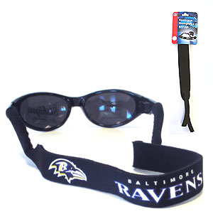 "Baltimore Ravens Neoprene NFL Sunglass Strap - Prioritize how you accessorize by teaming our Baltimore Ravens neoprene strap with our NFL sunglasses. Straps are adorned in team logos and colors. Sunglasses hang from the 16"" strap with flexible tube openings to fit snuggly over thin to wide styles. Officially licensed NFL product Licensee: Siskiyou Buckle .com"