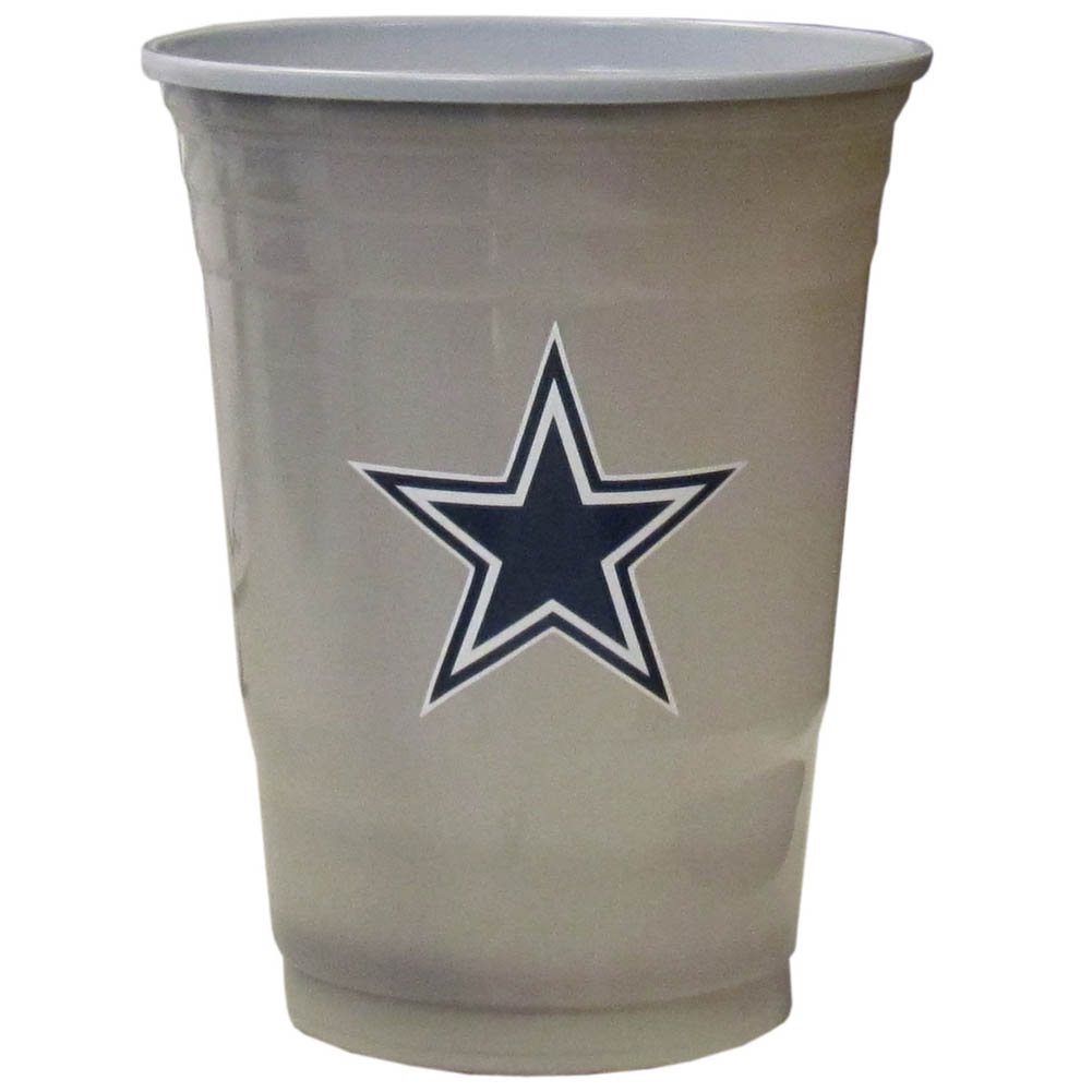 Dallas Cowboys Plastic Game Day Cups 2 sleeves of 18 (36 Cups) - Our 18 ounce game day cups are what every tailgating or backyard events needs! The cups feature a big Dallas Cowboys logo so you can show off your team pride. The popular 18 ounce size is perfect for drinks or ping pong balls! 2 sleeves of 18 cups, 36 cups in total.