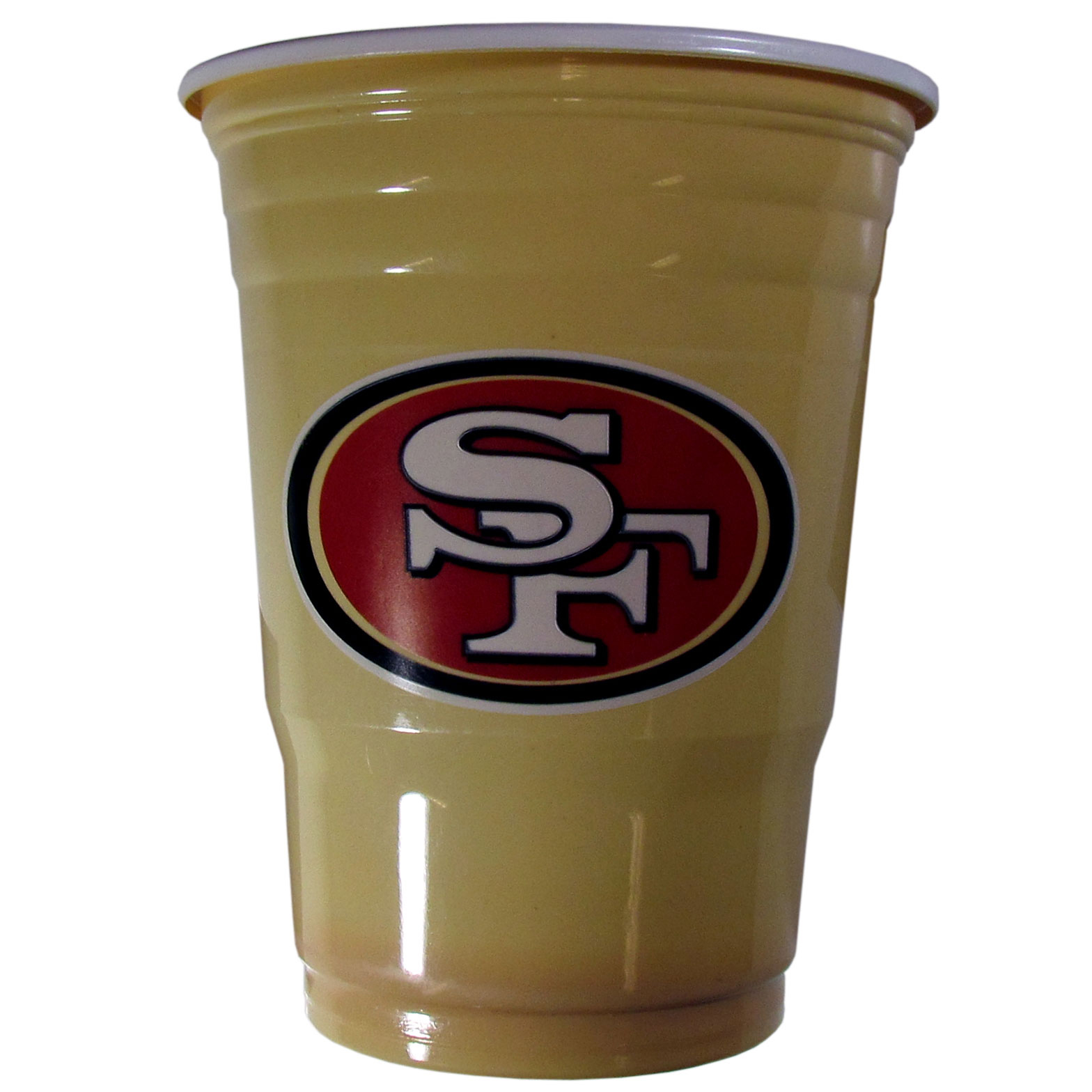 San Francisco 49ers Plastic Game Day Cups - Our 18 ounce game day cups are what every tailgating or backyard events needs! The cups feature a big San Francisco 49ers logo so you can show off your team pride. The popular 18 ounce size is perfect for drinks or ping pong balls! Sold in sleeves of 18 cups.