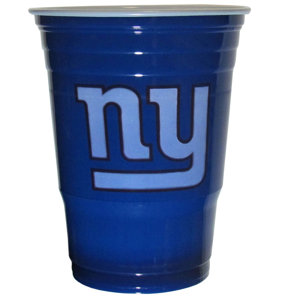 New York Giants Plastic Game Day Cups 2 sleeves of 18 (36 Cups) - Our 18 ounce game day cups are what every tailgating or backyard events needs! The cups feature a big New York Giants logo so you can show off your team pride. The popular 18 ounce size is perfect for drinks or ping pong balls! 2 sleeves of 18 cups, 36 cups in total.