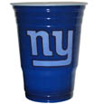 New York Giants Game Day Cups - Our NFL New York Giants game day cups come in a sleeve of 18 disposable 18 oz plastic cups and feature a silk screened New York Giants logo. Officially licensed NFL product Licensee: Siskiyou Buckle .com