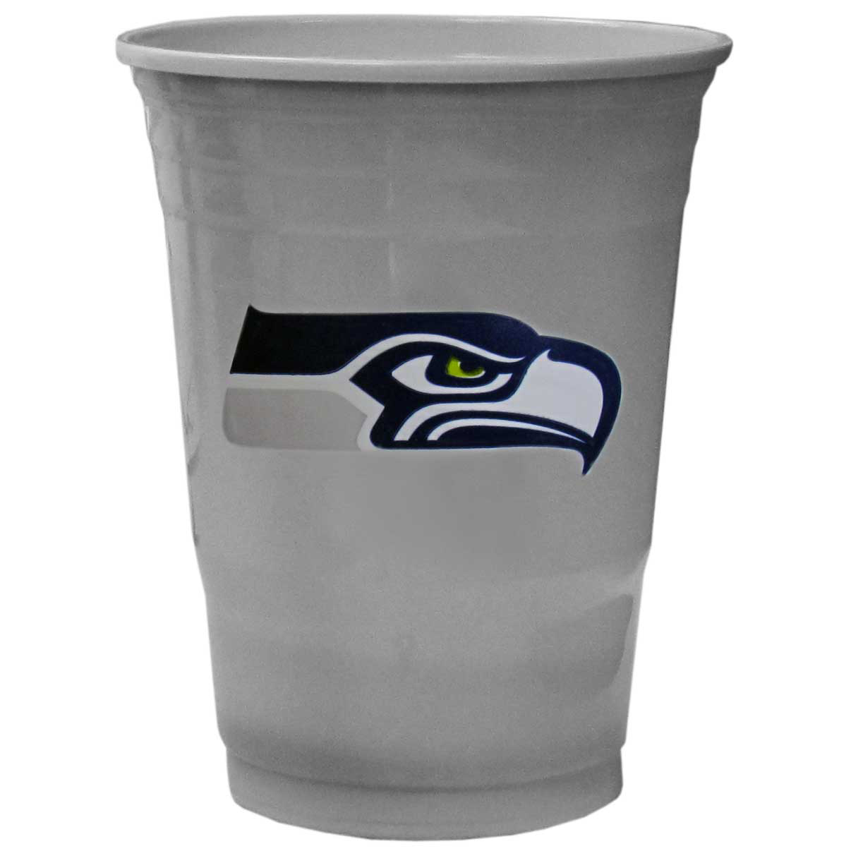 Seattle Seahawks Plastic Game Day Cups 2 sleeves of 18 (36 Cups) - Our 18 ounce game day cups are what every tailgating or backyard events needs! The cups feature a big Seattle Seahawks logo so you can show off your team pride. The popular 18 ounce size is perfect for drinks or ping pong balls! 2 sleeves of 18 cups, 36 cups in total.