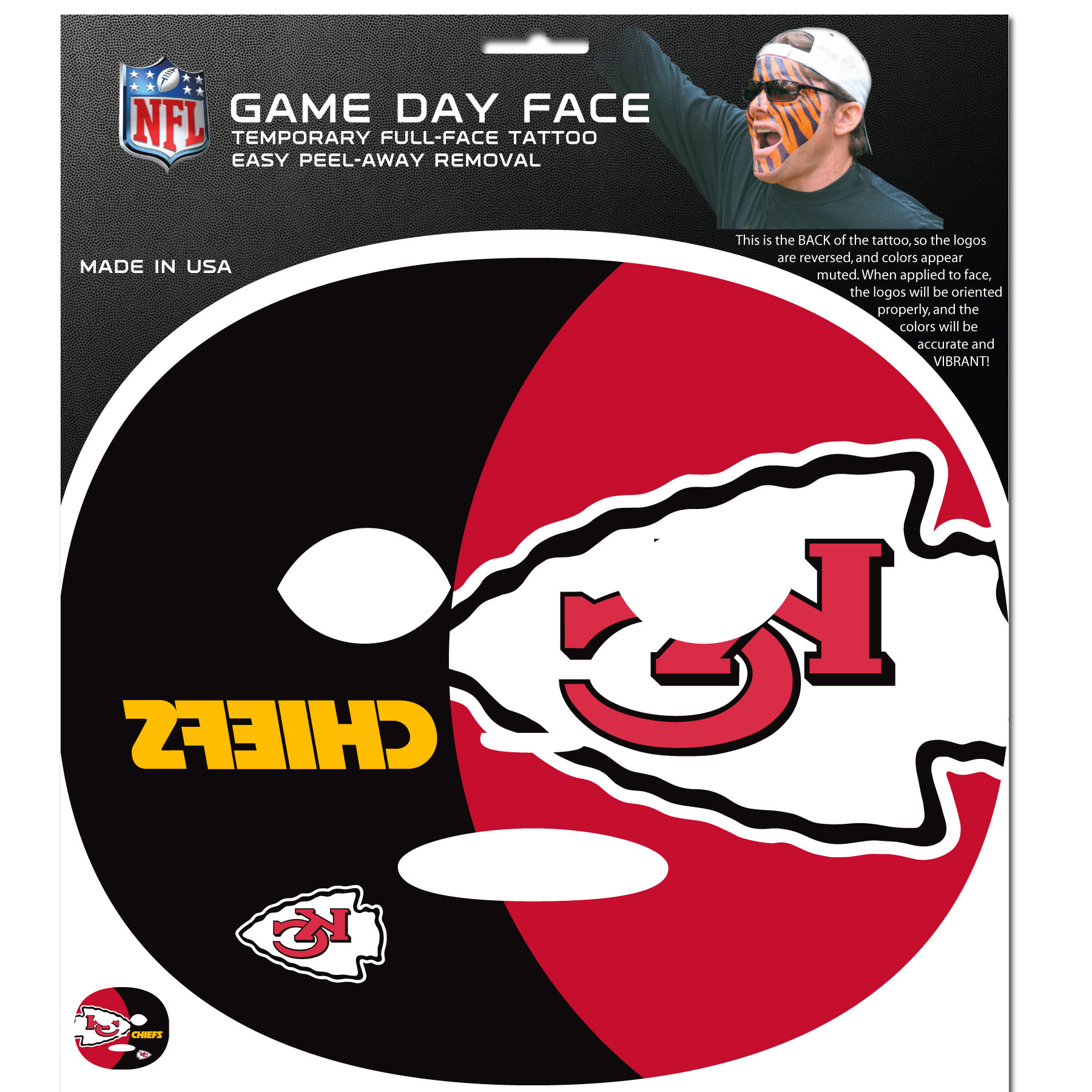 Kansas City Chiefs Game Face Temporary Tattoo - No better way to show your Kansas City Chiefs pride than by painting your face. Siskiyou's Game Day Face Temporary Tattoo isn't your typical face paint. It is a water based application that doesn't smudge, smear or sweat off  while you're wearing it and easily peels off after you're done celebrating your team's big Win! The temporary tattoo is large enough to trim down to fit your face.  Our Game Day Face Temporary Tattoo's are fun for fans of all ages. You may have seen our product before,  these are the same Temporary Face Tattoos as pitched on ABC's Shark Tank.