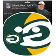 Green Bay Packers Game Day Face Temporary Tattoo - No better way to show your Green Bay Packers pride than by painting your face. Siskiyou's Game Day Face Temporary Tattoo isn't your typical face paint. It is a water based application that doesn't smudge, smear or sweat off  while you're wearing it and easily peels off after you're done celebrating your team's big Win! The temporary tattoo is large enough to trim down to fit your face.  Our Game Day Face Temporary Tattoo's are fun for fans of all ages. You may have seen our product before,  these are the same Temporary Face Tattoos as pitched on ABC's Shark Tank. Officially licensed NFL product Licensee: Siskiyou Buckle .com