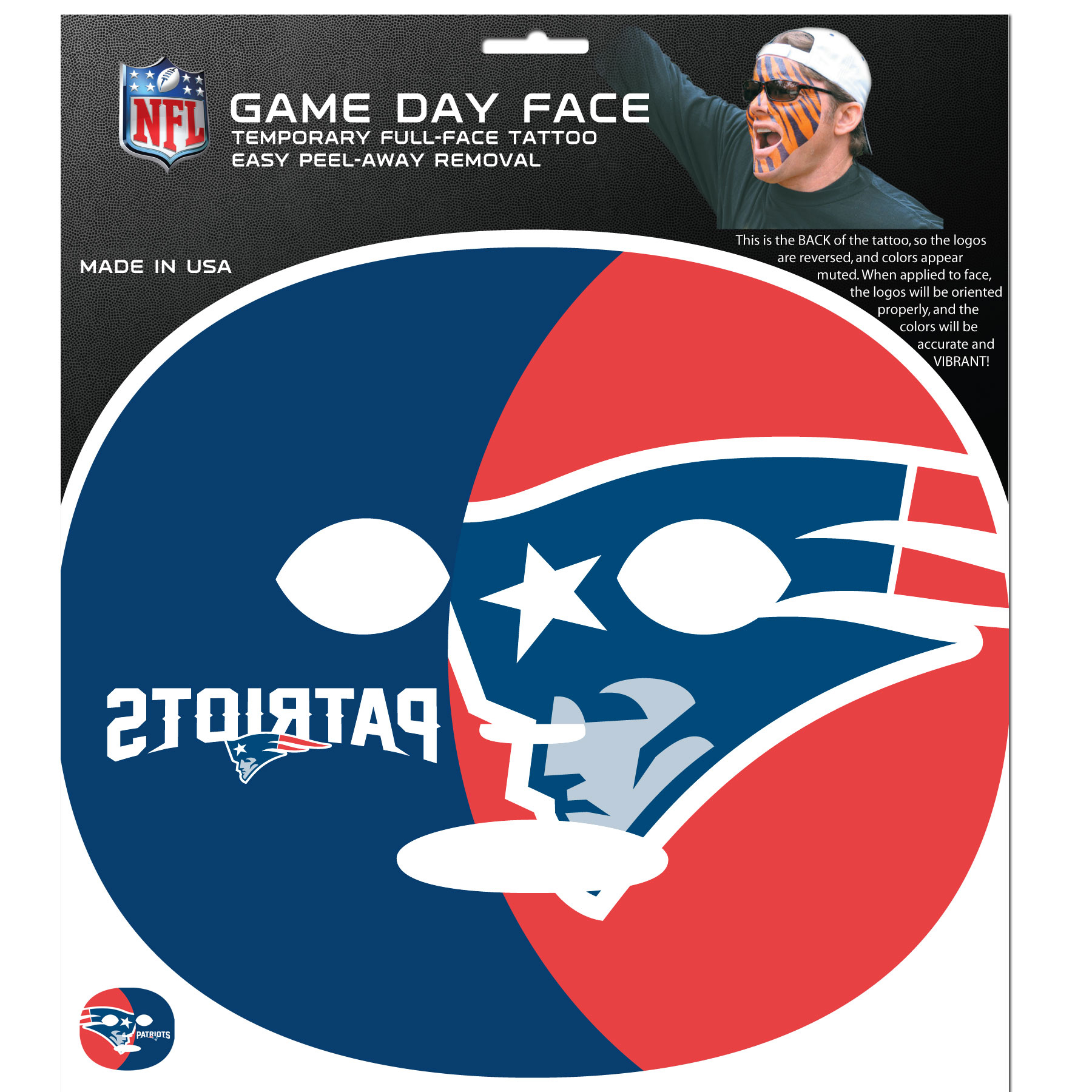 New England Patriots Game Face Temporary Tattoo - No better way to show your New England Patriots pride than by painting your face. Siskiyou's Game Day Face Temporary Tattoo isn't your typical face paint. It is a water based application that doesn't smudge, smear or sweat off  while you're wearing it and easily peels off after you're done celebrating your team's big Win! The temporary tattoo is large enough to trim down to fit your face.  Our Game Day Face Temporary Tattoo's are fun for fans of all ages. You may have seen our product before,  these are the same Temporary Face Tattoos as pitched on ABC's Shark Tank.