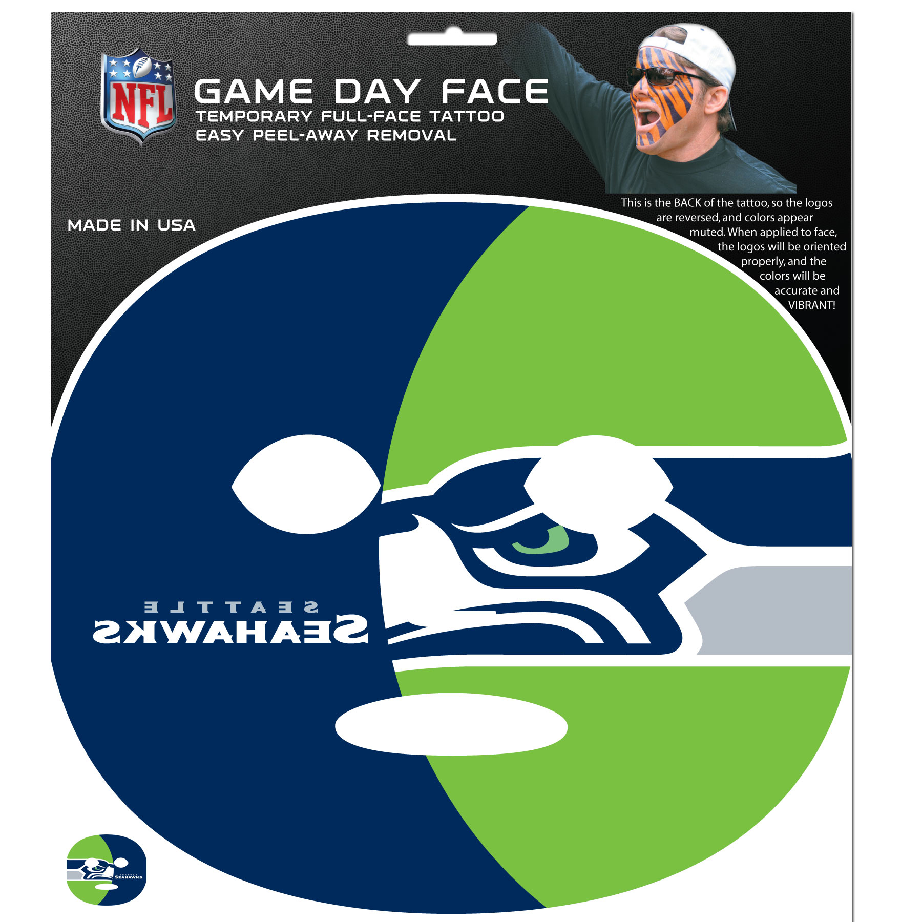 Seattle Seahawks Game Face Temporary Tattoo - No better way to show your Seattle Seahawks pride than by painting your face. Siskiyou's Game Day Face Temporary Tattoo isn't your typical face paint. It is a water based application that doesn't smudge, smear or sweat off  while you're wearing it and easily peels off after you're done celebrating your team's big Win! The temporary tattoo is large enough to trim down to fit your face.  Our Game Day Face Temporary Tattoo's are fun for fans of all ages. You may have seen our product before,  these are the same Temporary Face Tattoos as pitched on ABC's Shark Tank.