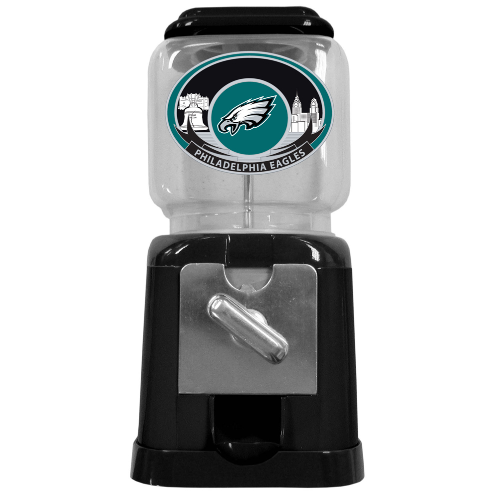 "Philadelphia Eagles Gumball Machine - ""Our officially licensed NFL gumball machine is 10"""" tall and 4.75"""" square. This cute gift can be used with our without the coin feed option. Gumballs not included."""