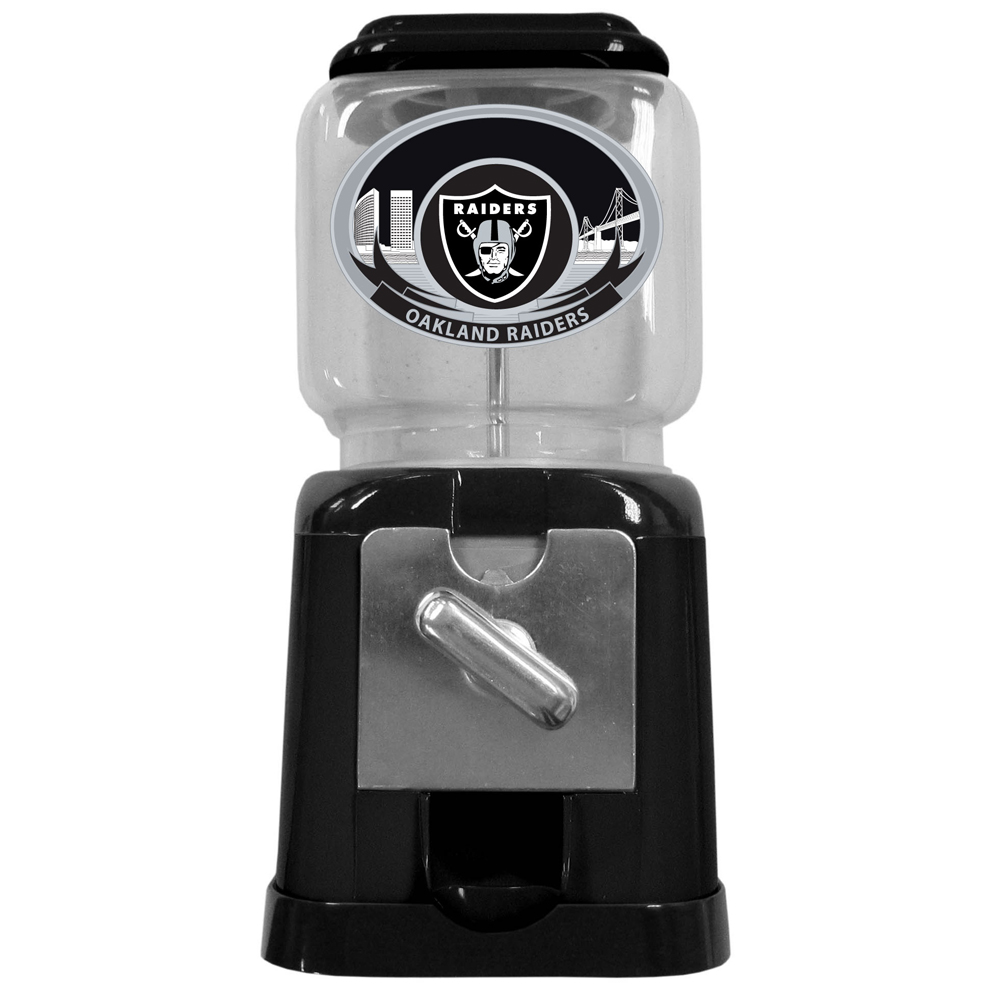 "Oakland Raiders Gumball Machine - ""Our officially licensed NFL gumball machine is 10"""" tall and 4.75"""" square. This cute gift can be used with our without the coin feed option. Gumballs not included."""