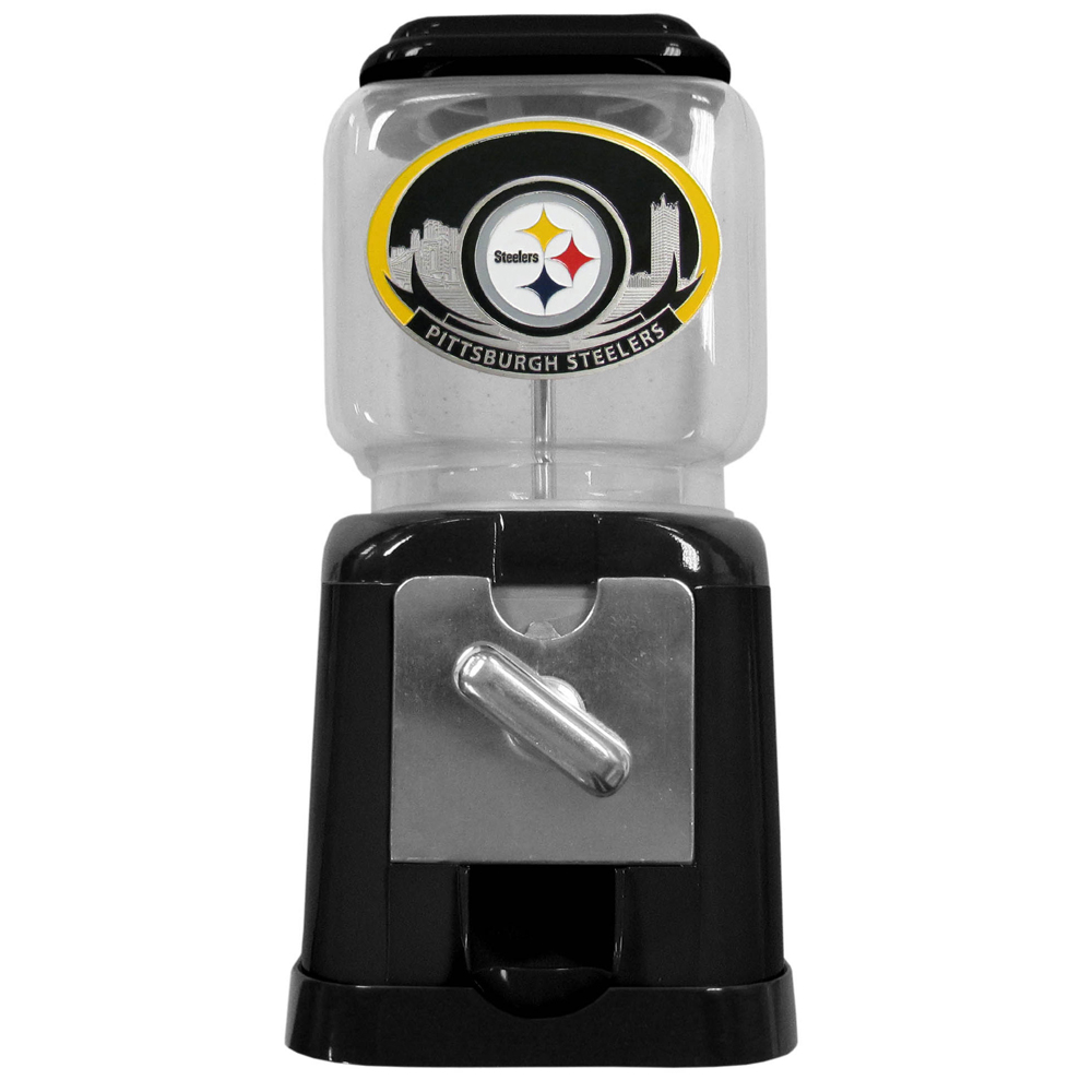 "Pittsburgh Steelers Gumball Machine - ""Our officially licensed NFL gumball machine is 10"""" tall and 4.75"""" square. This cute gift can be used with our without the coin feed option. Gumballs not included."""
