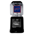 Buffalo Bills Black Gumball/Candy Machine - Craving something sweet? Then just reach for your very own Buffalo Bills gumball machine! This fun gumball machine accepts nickels, dimes or quarters and can be set for free dispensing. The glass globe is 4 inches wide and tall and can be used for any gumballs or candy that is less than 1/2 inch. The cast metal base is sturdy and features a chrome metal coin receptacle and turn handle. The classic novelty item is perfect for your desk at work, dorm room or game room.