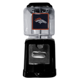 Denver Broncos Black Gumball/Candy Machine - Craving something sweet? Then just reach for your very own Denver Broncos gumball machine! This fun gumball machine accepts nickels, dimes or quarters and can be set for free dispensing. The glass globe is 4 inches wide and tall and can be used for any gumballs or candy that is less than 1/2 inch. The cast metal base is sturdy and features a chrome metal coin receptacle and turn handle. The classic novelty item is perfect for your desk at work, dorm room or game room.