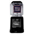 New York Giants Black Gumball/Candy Machine - Craving something sweet? Then just reach for your very own New York Giants gumball machine! This fun gumball machine accepts nickels, dimes or quarters and can be set for free dispensing. The glass globe is 4 inches wide and tall and can be used for any gumballs or candy that is less than 1/2 inch. The cast metal base is sturdy and features a chrome metal coin receptacle and turn handle. The classic novelty item is perfect for your desk at work, dorm room or game room.