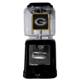 Green Bay Packers Black Gumball/Candy Machine - Craving something sweet? Then just reach for your very own Green Bay Packers gumball machine! This fun gumball machine accepts nickels, dimes or quarters and can be set for free dispensing. The glass globe is 4 inches wide and tall and can be used for any gumballs or candy that is less than 1/2 inch. The cast metal base is sturdy and features a chrome metal coin receptacle and turn handle. The classic novelty item is perfect for your desk at work, dorm room or game room.