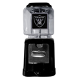 Oakland Raiders Black Gumball/Candy Machine - Craving something sweet? Then just reach for your very own Oakland Raiders gumball machine! This fun gumball machine accepts nickels, dimes or quarters and can be set for free dispensing. The glass globe is 4 inches wide and tall and can be used for any gumballs or candy that is less than 1/2 inch. The cast metal base is sturdy and features a chrome metal coin receptacle and turn handle. The classic novelty item is perfect for your desk at work, dorm room or game room.