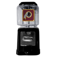 Washington Redskins Black Gumball/Candy Machine - Craving something sweet? Then just reach for your very own Washington Redskins gumball machine! This fun gumball machine accepts nickels, dimes or quarters and can be set for free dispensing. The glass globe is 4 inches wide and tall and can be used for any gumballs or candy that is less than 1/2 inch. The cast metal base is sturdy and features a chrome metal coin receptacle and turn handle. The classic novelty item is perfect for your desk at work, dorm room or game room.
