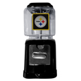 Pittsburgh Steelers Black Gumball/Candy Machine - Craving something sweet? Then just reach for your very own Pittsburgh Steelers gumball machine! This fun gumball machine accepts nickels, dimes or quarters and can be set for free dispensing. The glass globe is 4 inches wide and tall and can be used for any gumballs or candy that is less than 1/2 inch. The cast metal base is sturdy and features a chrome metal coin receptacle and turn handle. The classic novelty item is perfect for your desk at work, dorm room or game room.