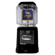 Minnesota Vikings Black Gumball/Candy Machine - Craving something sweet? Then just reach for your very own Minnesota Vikings gumball machine! This fun gumball machine accepts nickels, dimes or quarters and can be set for free dispensing. The glass globe is 4 inches wide and tall and can be used for any gumballs or candy that is less than 1/2 inch. The cast metal base is sturdy and features a chrome metal coin receptacle and turn handle. The classic novelty item is perfect for your desk at work, dorm room or game room.
