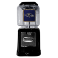 Baltimore Ravens Black Gumball/Candy Machine - Craving something sweet? Then just reach for your very own Baltimore Ravens gumball machine! This fun gumball machine accepts nickels, dimes or quarters and can be set for free dispensing. The glass globe is 4 inches wide and tall and can be used for any gumballs or candy that is less than 1/2 inch. The cast metal base is sturdy and features a chrome metal coin receptacle and turn handle. The classic novelty item is perfect for your desk at work, dorm room or game room.