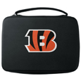 Cincinnati Bengals GoPro Carrying Case - Our Cincinnati Bengals carrying case for GoPro cameras is the perfect balance of style and functionality. This protective case is water resistant, with a water resistant zipper system making it a great way to protect your Go Pro on the go! The case has a durable insert that fits the GoPro 1,2,3,3+ and 4 plus housing, housing backdoors, SD memory card, battery, power plug, remote control, battery pack and LCD. The case has an additional mesh storage pocket for cables and additional accessories. The classic black case features a large printed team logo. Officially licensed NFL product Licensee: Siskiyou Buckle .com
