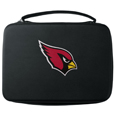 Arizona Cardinals GoPro Carrying Case - Our Arizona Cardinals carrying case for GoPro cameras is the perfect balance of style and functionality. This protective case is water resistant, with a water resistant zipper system making it a great way to protect your Go Pro on the go! The case has a durable insert that fits the GoPro 1,2,3,3+ and 4 plus housing, housing backdoors, SD memory card, battery, power plug, remote control, battery pack and LCD. The case has an additional mesh storage pocket for cables and additional accessories. The classic black case features a large printed team logo. Officially licensed NFL product Licensee: Siskiyou Buckle .com
