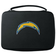 San Diego Chargers GoPro Carrying Case - Our San Diego Chargers carrying case for GoPro cameras is the perfect balance of style and functionality. This protective case is water resistant, with a water resistant zipper system making it a great way to protect your Go Pro on the go! The case has a durable insert that fits the GoPro 1,2,3,3+ and 4 plus housing, housing backdoors, SD memory card, battery, power plug, remote control, battery pack and LCD. The case has an additional mesh storage pocket for cables and additional accessories. The classic black case features a large printed team logo. Officially licensed NFL product Licensee: Siskiyou Buckle .com