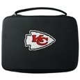 Kansas City Chiefs GoPro Carrying Case - Our Kansas City Chiefs carrying case for GoPro cameras is the perfect balance of style and functionality. This protective case is water resistant, with a water resistant zipper system making it a great way to protect your Go Pro on the go! The case has a durable insert that fits the GoPro 1,2,3,3+ and 4 plus housing, housing backdoors, SD memory card, battery, power plug, remote control, battery pack and LCD. The case has an additional mesh storage pocket for cables and additional accessories. The classic black case features a large printed team logo. Officially licensed NFL product Licensee: Siskiyou Buckle .com