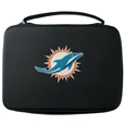 Miami Dolphins GoPro Carrying Case - Our Miami Dolphins carrying case for GoPro cameras is the perfect balance of style and functionality. This protective case is water resistant, with a water resistant zipper system making it a great way to protect your Go Pro on the go! The case has a durable insert that fits the GoPro 1,2,3,3+ and 4 plus housing, housing backdoors, SD memory card, battery, power plug, remote control, battery pack and LCD. The case has an additional mesh storage pocket for cables and additional accessories. The classic black case features a large printed team logo. Officially licensed NFL product Licensee: Siskiyou Buckle .com