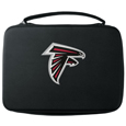 Atlanta Falcons GoPro Carrying Case - Our Atlanta Falcons carrying case for GoPro cameras is the perfect balance of style and functionality. This protective case is water resistant, with a water resistant zipper system making it a great way to protect your Go Pro on the go! The case has a durable insert that fits the GoPro 1,2,3,3+ and 4 plus housing, housing backdoors, SD memory card, battery, power plug, remote control, battery pack and LCD. The case has an additional mesh storage pocket for cables and additional accessories. The classic black case features a large printed team logo. Officially licensed NFL product Licensee: Siskiyou Buckle .com
