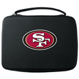 San Francisco 49ers GoPro Carrying Case - Our San Francisco 49ers carrying case for GoPro cameras is the perfect balance of style and functionality. This protective case is water resistant, with a water resistant zipper system making it a great way to protect your Go Pro on the go! The case has a durable insert that fits the GoPro 1,2,3,3+ and 4 plus housing, housing backdoors, SD memory card, battery, power plug, remote control, battery pack and LCD. The case has an additional mesh storage pocket for cables and additional accessories. The classic black case features a large printed team logo. Officially licensed NFL product Licensee: Siskiyou Buckle .com