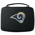 St. Louis Rams GoPro Carrying Case - Our St. Louis Rams carrying case for GoPro cameras is the perfect balance of style and functionality. This protective case is water resistant, with a water resistant zipper system making it a great way to protect your Go Pro on the go! The case has a durable insert that fits the GoPro 1,2,3,3+ and 4 plus housing, housing backdoors, SD memory card, battery, power plug, remote control, battery pack and LCD. The case has an additional mesh storage pocket for cables and additional accessories. The classic black case features a large printed team logo. Officially licensed NFL product Licensee: Siskiyou Buckle .com