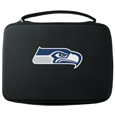 Seattle Seahawks GoPro Carrying Case - Our Seattle Seahawks carrying case for GoPro cameras is the perfect balance of style and functionality. This protective case is water resistant, with a water resistant zipper system making it a great way to protect your Go Pro on the go! The case has a durable insert that fits the GoPro 1,2,3,3+ and 4 plus housing, housing backdoors, SD memory card, battery, power plug, remote control, battery pack and LCD. The case has an additional mesh storage pocket for cables and additional accessories. The classic black case features a large printed team logo. Officially licensed NFL product Licensee: Siskiyou Buckle .com