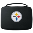 Pittsburgh Steelers GoPro Carrying Case - Our Pittsburgh Steelers carrying case for GoPro cameras is the perfect balance of style and functionality. This protective case is water resistant, with a water resistant zipper system making it a great way to protect your Go Pro on the go! The case has a durable insert that fits the GoPro 1,2,3,3+ and 4 plus housing, housing backdoors, SD memory card, battery, power plug, remote control, battery pack and LCD. The case has an additional mesh storage pocket for cables and additional accessories. The classic black case features a large printed team logo. Officially licensed NFL product Licensee: Siskiyou Buckle .com
