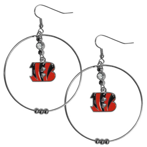 "Bengals Hoop Earrings - Our NFL 2"" hoop earrings have a fully cast and enameled Arizona Cardinals emblem with enameled detail and a high polish nickel free chrome finish and rhinestone access. Hypoallergenic fishhook posts. Officially licensed NFL product Licensee: Siskiyou Buckle .com"