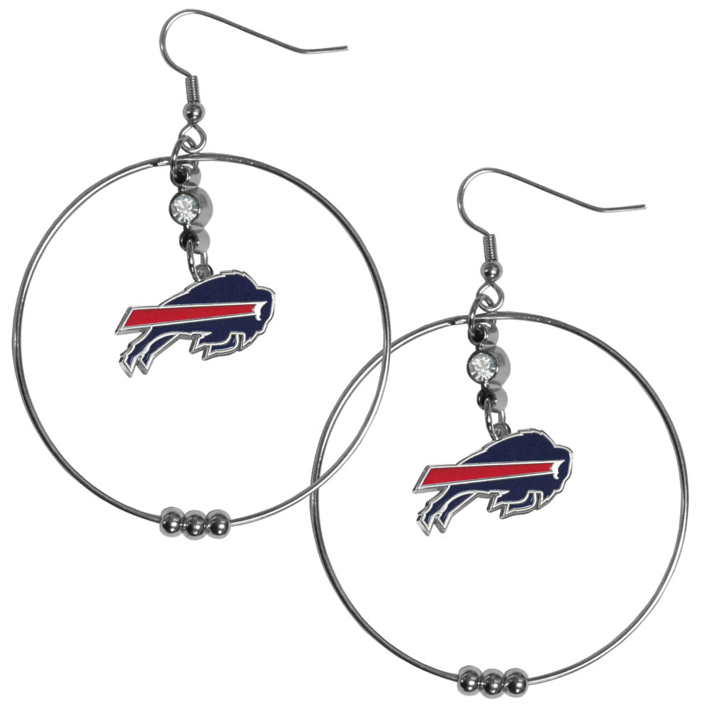 Buffalo Bills 2 Inch Hoop Earrings - Our large hoop earrings have a fully cast and enameled Buffalo Bills charm with enameled detail and a high polish nickel free chrome finish and rhinestone access. Hypoallergenic fishhook posts.