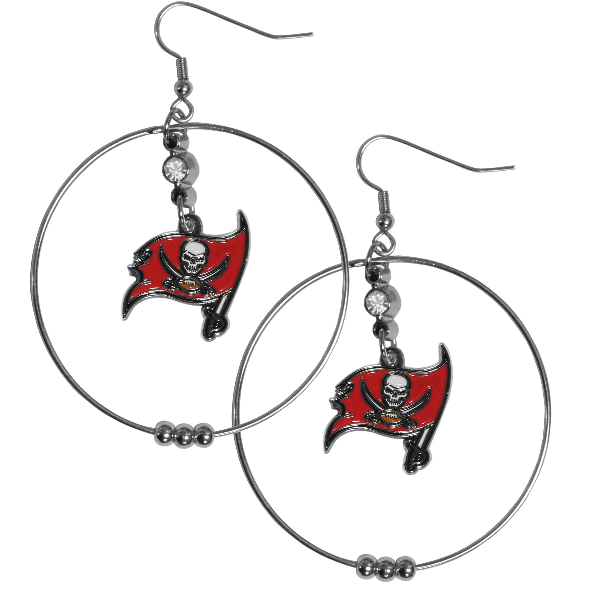 Tampa Bay Buccaneers 2 Inch Hoop Earrings - Our large hoop earrings have a fully cast and enameled Tampa Bay Buccaneers charm with enameled detail and a high polish nickel free chrome finish and rhinestone access. Hypoallergenic fishhook posts.