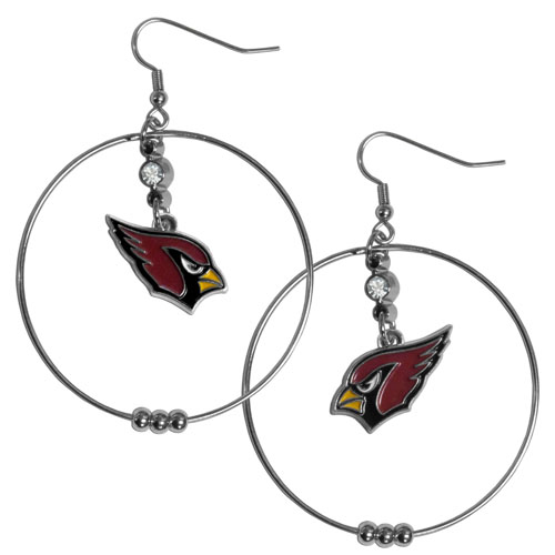 "Cardinals Hoop Earrings - ""Our NFL 2"""" hoop earrings have a fully cast and enameled Arizona Cardinals emblem with enameled detail and a high polish nickel free chrome finish and rhinestone access. Hypoallergenic fishhook posts."" Officially licensed NFL product Licensee: Siskiyou Buckle .com"