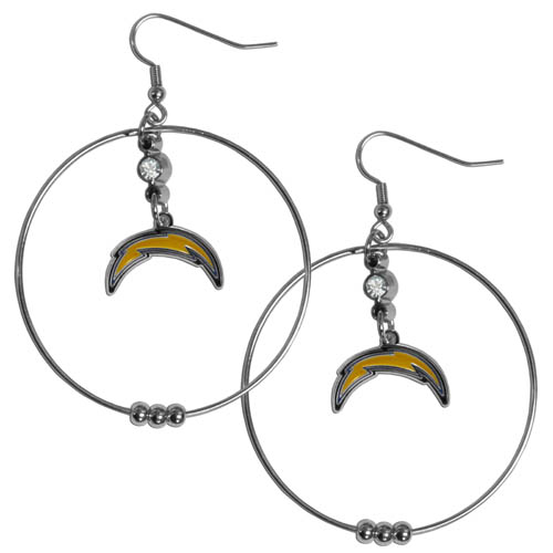 "Chargers Hoop Earrings - ""Our NFL 2"""" hoop earrings have a fully cast and enameled San Diego Chargers emblem with enameled detail and a high polish nickel free chrome finish and rhinestone access. Hypoallergenic fishhook posts."" Officially licensed NFL product Licensee: Siskiyou Buckle .com"