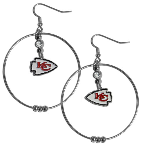 "Chiefs Hoop Earrings - ""Our NFL 2"""" hoop earrings have a fully cast and enameled Kansas City Chiefs emblem with enameled detail and a high polish nickel free chrome finish and rhinestone access. Hypoallergenic fishhook posts."" Officially licensed NFL product Licensee: Siskiyou Buckle Thank you for visiting CrazedOutSports.com"