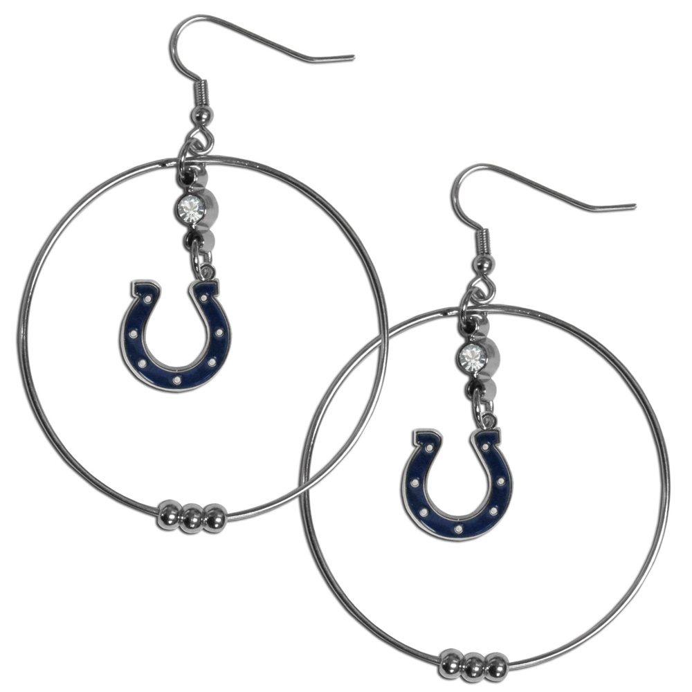 Indianapolis Colts 2 Inch Hoop Earrings - Our large hoop earrings have a fully cast and enameled Indianapolis Colts charm with enameled detail and a high polish nickel free chrome finish and rhinestone access. Hypoallergenic fishhook posts.