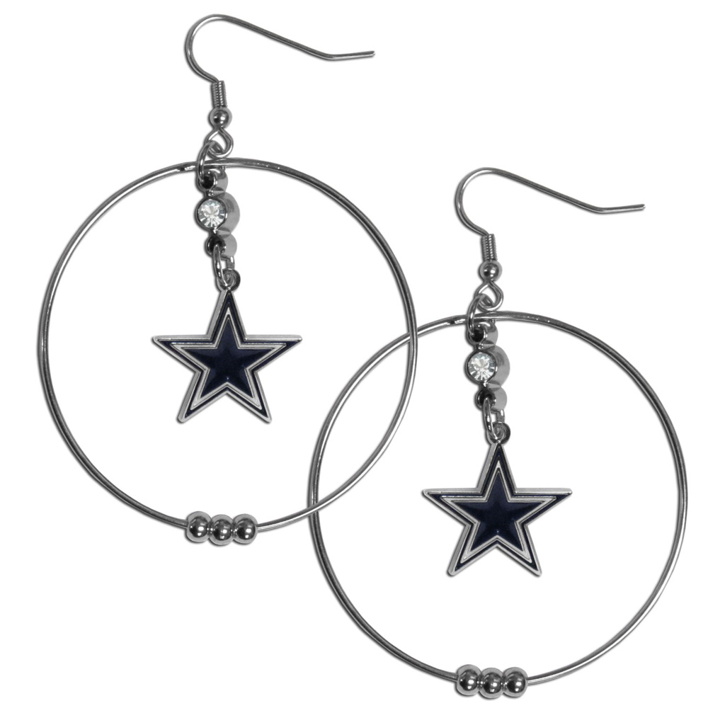 Dallas Cowboys 2 Inch Hoop Earrings - Our large hoop earrings have a fully cast and enameled Dallas Cowboys charm with enameled detail and a high polish nickel free chrome finish and rhinestone access. Hypoallergenic fishhook posts.