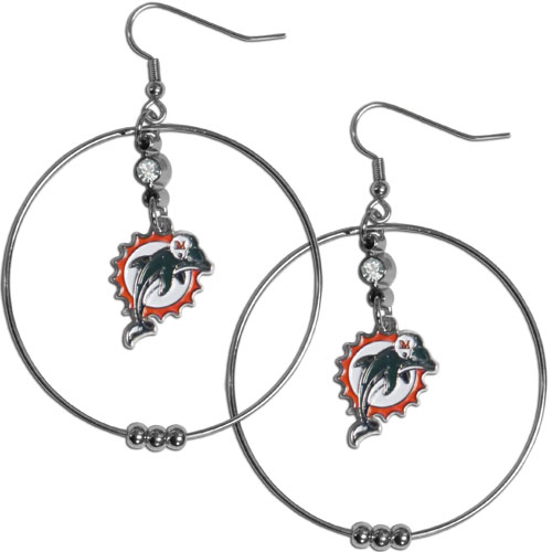 "Miami Dolphins 2"" Hoop Earrings - Our NFL 2"" hoop earrings have a fully cast and enameled Arizona Cardinals emblem with enameled detail and a high polish nickel free chrome finish and rhinestone access. Hypoallergenic fishhook posts. Officially licensed NFL product Licensee: Siskiyou Buckle .com"