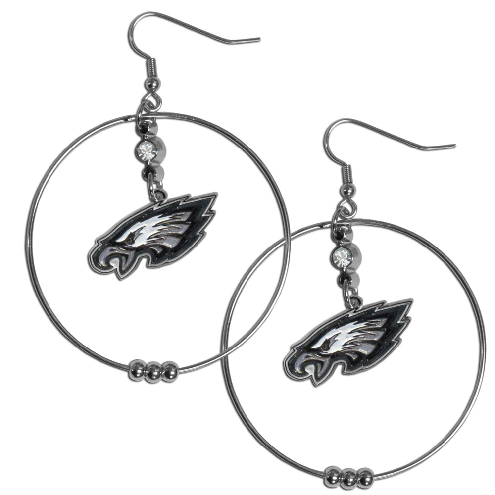 Philadelphia Eagles 2 Inch Hoop Earrings - Our large hoop earrings have a fully cast and enameled Philadelphia Eagles charm with enameled detail and a high polish nickel free chrome finish and rhinestone access. Hypoallergenic fishhook posts.