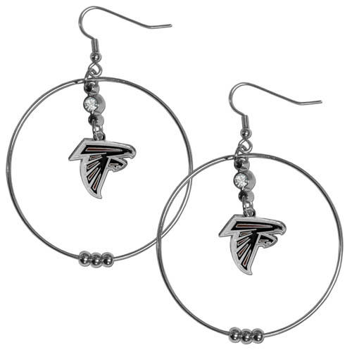 "Falcons Hoop Earrings - ""Our NFL 2"""" hoop earrings have a fully cast and enameled Atlanta Falcons emblem with enameled detail and a high polish nickel free chrome finish and rhinestone access. Hypoallergenic fishhook posts."" Officially licensed NFL product Licensee: Siskiyou Buckle .com"