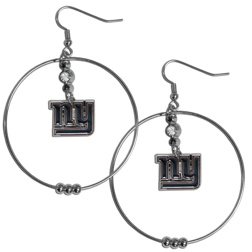 New York Giants 2 Inch Hoop Earrings - Our large hoop earrings have a fully cast and enameled New York Giants charm with enameled detail and a high polish nickel free chrome finish and rhinestone access. Hypoallergenic fishhook posts.